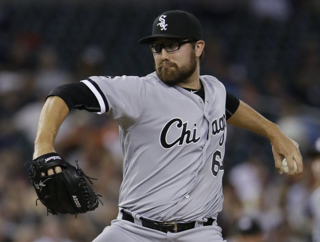 Chicago White Sox's Matt Purke pitches against the Detroit Tigers during the eighth inning of a baseball game Friday, June 3, 2016, in Detroit. (AP Photo/Duane Burleson)