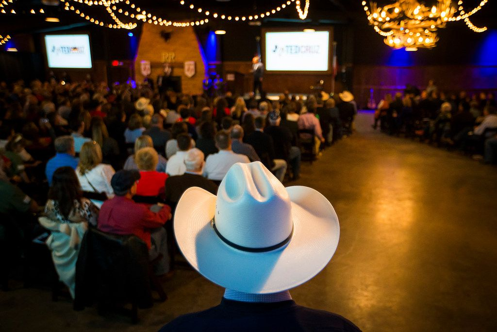 Sen. Ted Cruz addresses supporters during a campaign event at River Ranch Stockyards on Wednesday, April 4, 2018, in Fort Worth, Texas.