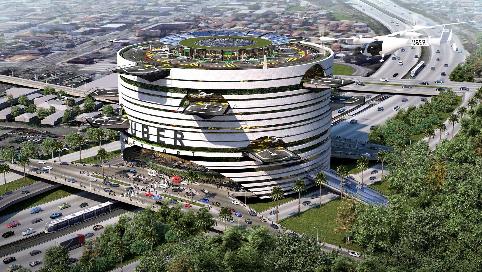 One of Humphreys & Partners Uber terminal plans is perched on top of a freeway.
