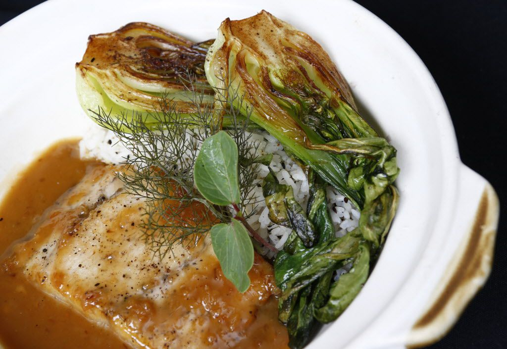 Barramundi in claypot caramel with bok choy