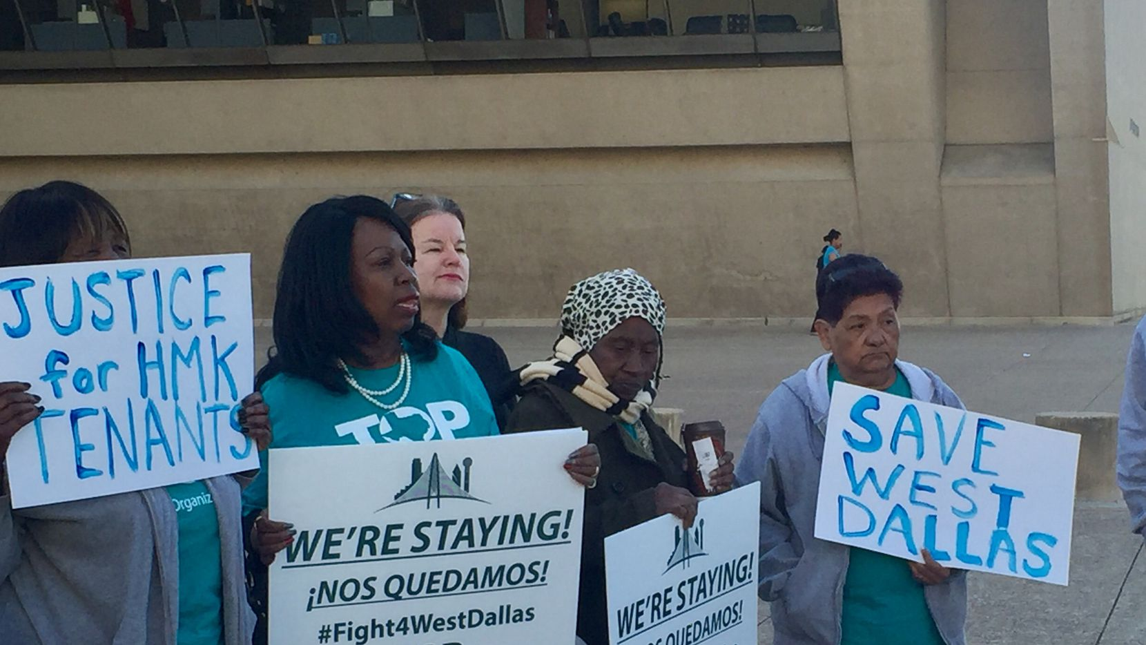 HMK tenants held a news conference Tuesday outside Dallas City Hall on affordable housing. (Dianne Solis/Staff)