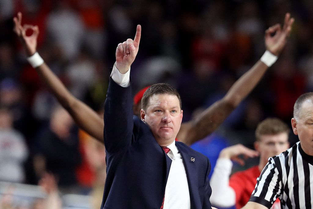 MINNEAPOLIS, MINNESOTA - APRIL 08:  Head coach Chris Beard of the Texas Tech Red Raiders reacts against the Virginia Cavaliers during the 2019 NCAA men's Final Four National Championship game at U.S. Bank Stadium on April 08, 2019 in Minneapolis, Minnesota. (Photo by Streeter Lecka/Getty Images)