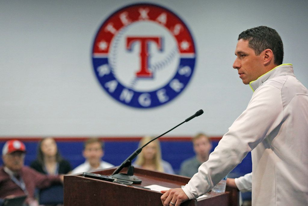 Texas Rangers general manager Jon Daniels holds his end-of-the-season press conference at Globe Life Park in Arlington, Texas on Tuesday, October 2, 2018. (Louis DeLuca/The Dallas Morning News)