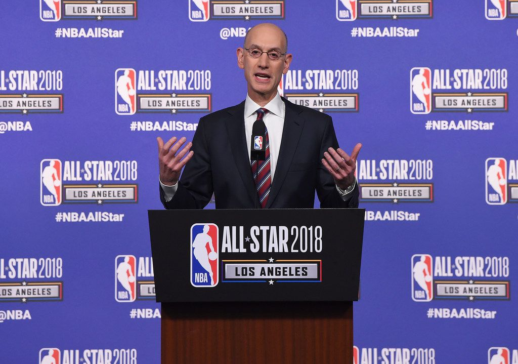 LOS ANGELES - FEBRUARY 17:  NBA commissioner Adam Silver speaks onstage during the All-Star Game press conference at Staples Center on Feb. 17, 2018, in Los Angeles.  (Photo by Jayne Kamin-Oncea/Getty Images)