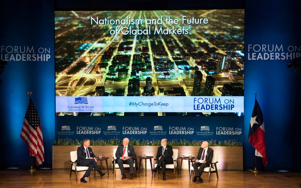 From left, moderator Terry Duffy, chairman and chief executive officer, CME Group; Henry M. Paulson Jr., chairman, Paulson Institute; Ben Bernanke, former chair of the Federal Reserve and fellow, The Brookings Institute; and Edward Lazear, professor of economics at Stanford University participate in a panel discussion on Nationalism and the Future of Global Markets during the Forum on Leadership Wednesday.