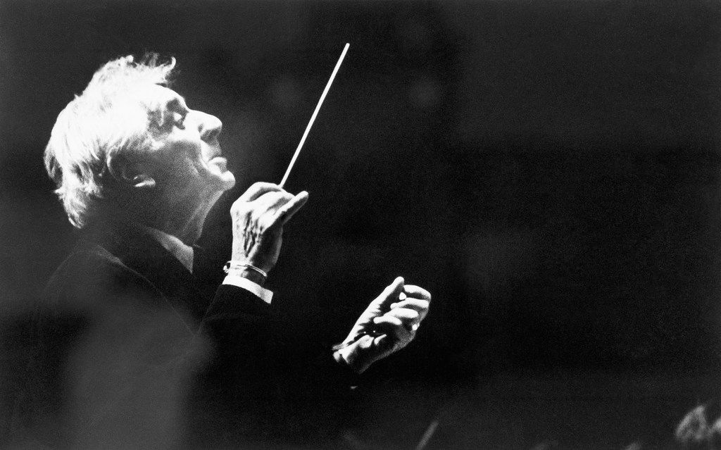 Leonard Bernstein conducts a class at the Musical Arts Center in Bloomington Ind. in 1982.
