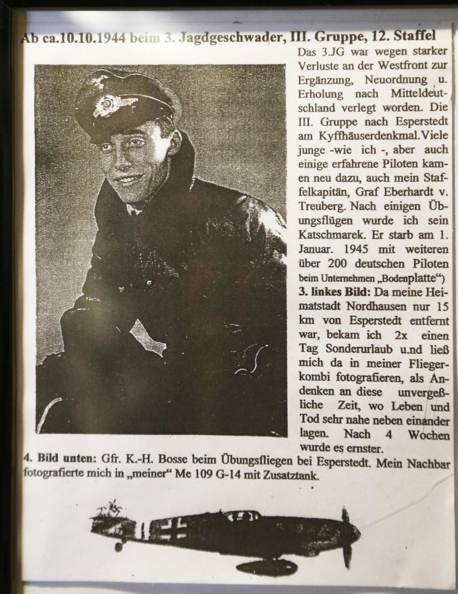 Karl Heinz-Bosse, German pilot who was shot down by Elton B. Long in a display of a letter written to Sue Long (Elton's wife) at Atria Canyon Creek in Plano.
