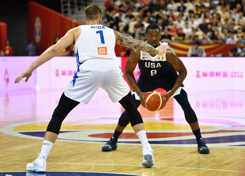 Harrison Barnes of the US holds the ball next to Patrik Auda of the Czech Republic during the Basketball World Cup Group E game between Czech Republic and US in Shanghai on September 1, 2019.