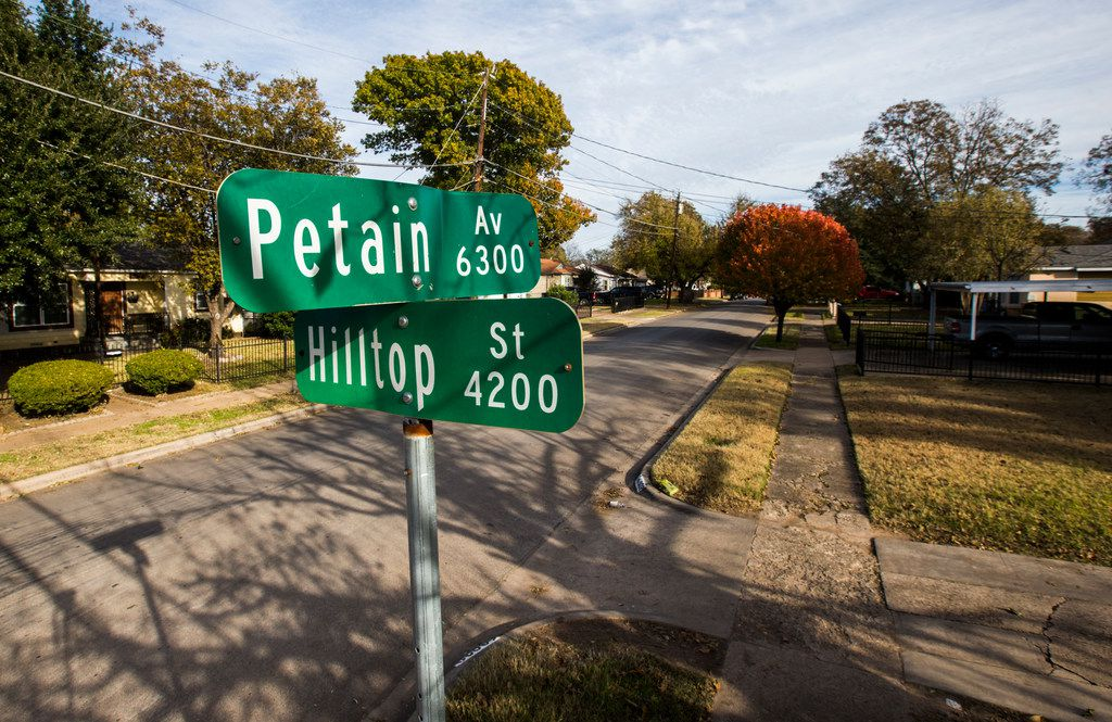The corner of Petain Avenue and Hilltop Street in southeast Dallas.