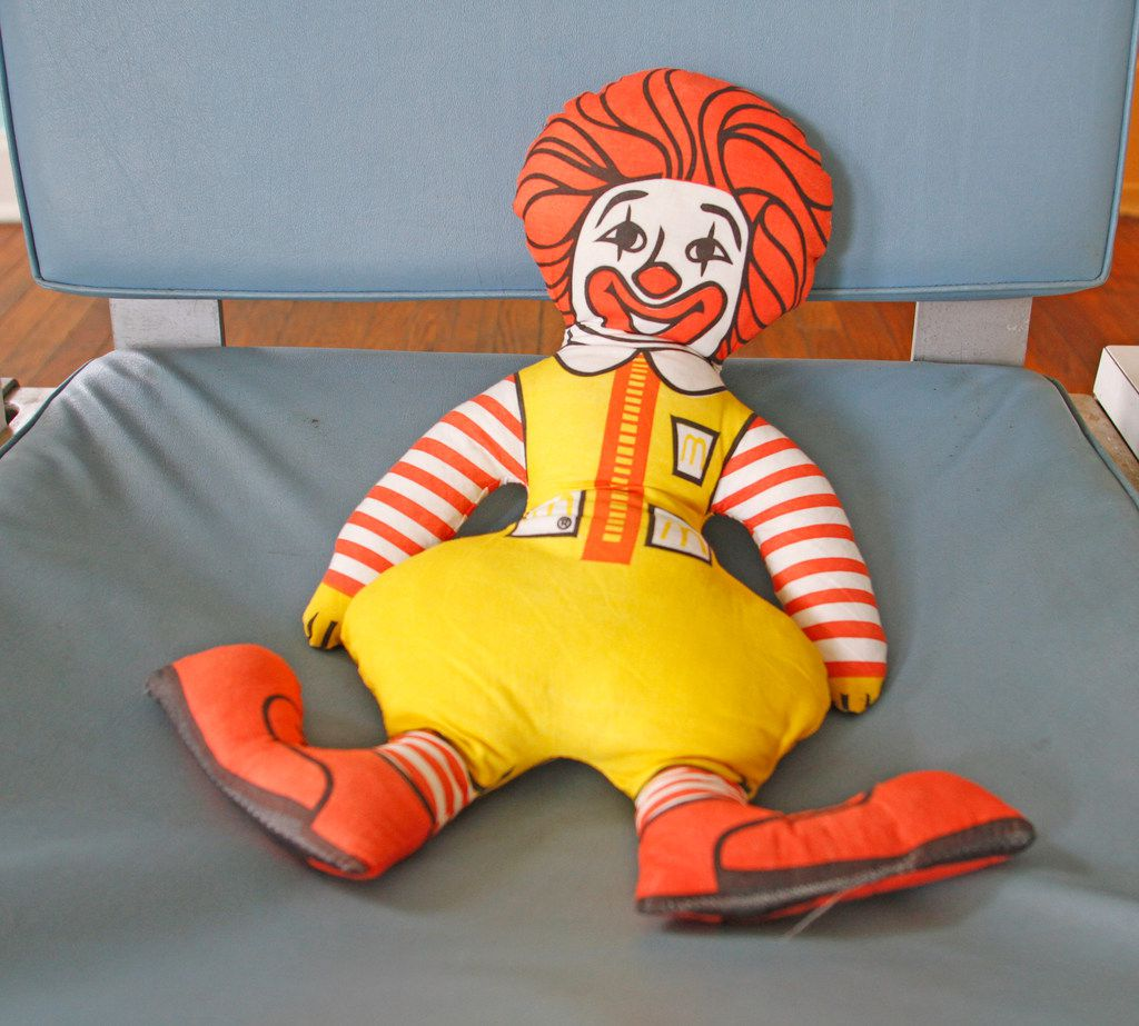 A stuffed Ronald McDonald character in The McFly.