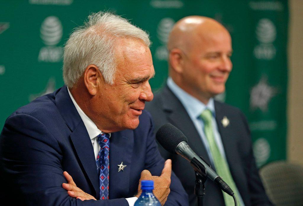 Dallas Stars Chief Executive Officer Jim Lites, left, talks about new Dallas Stars head coach Jim Montgomery during a press conference at American Airlines Center in Dallas, Friday, May 4, 2018. (Jae S. Lee/The Dallas Morning News)