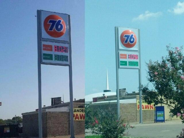 El administrador de la gasolinera 76 en Garland explicó que fue un error y que la gasolina nunca estuvo a $8.