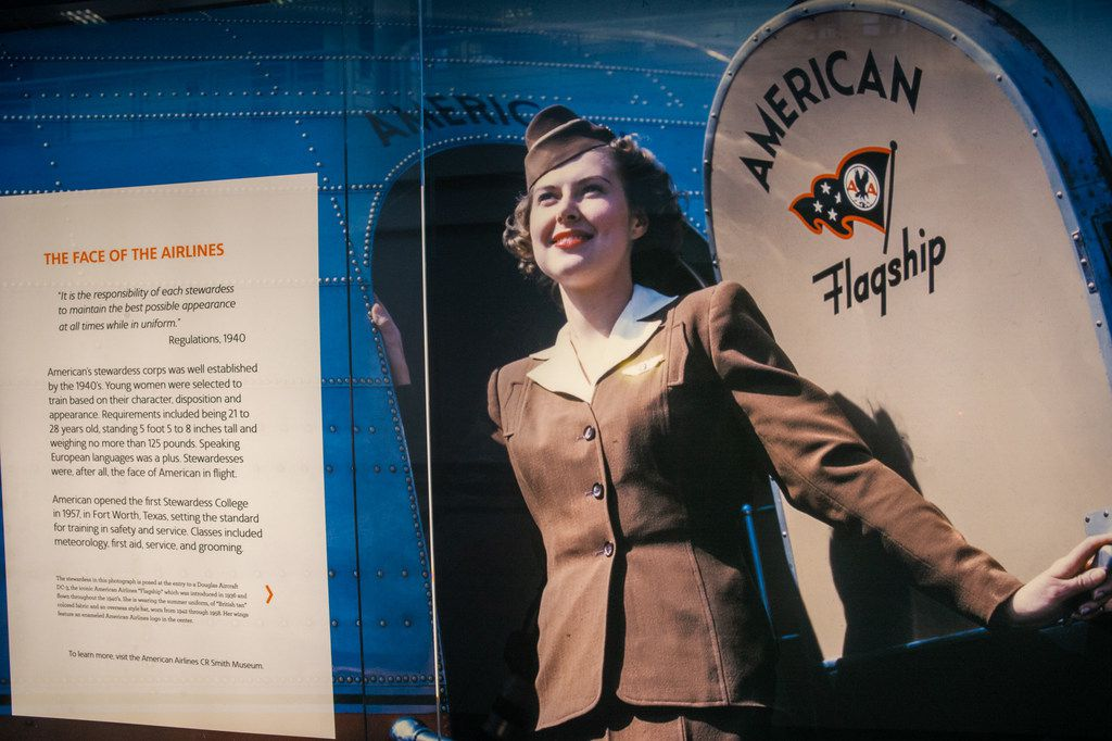 The new American Airlines campus and headquarters features history displays of the airline company's stewardesses in a training terminal in Fort Worth, Texas, on Monday, Sep. 23, 2019. (Lynda M. Gonzalez/The Dallas Morning News)