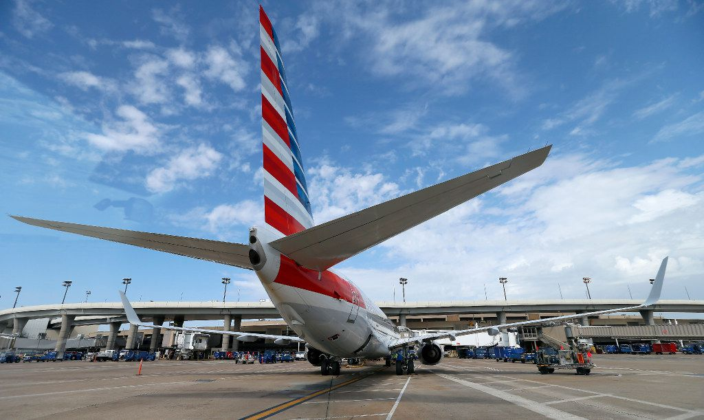 An American Airlines jet on the ground at Dallas/Fort Worth International Airport in DFW Airport, Texas, Friday, Aug. 18, 2017. (Jae S. Lee/The Dallas Morning News)