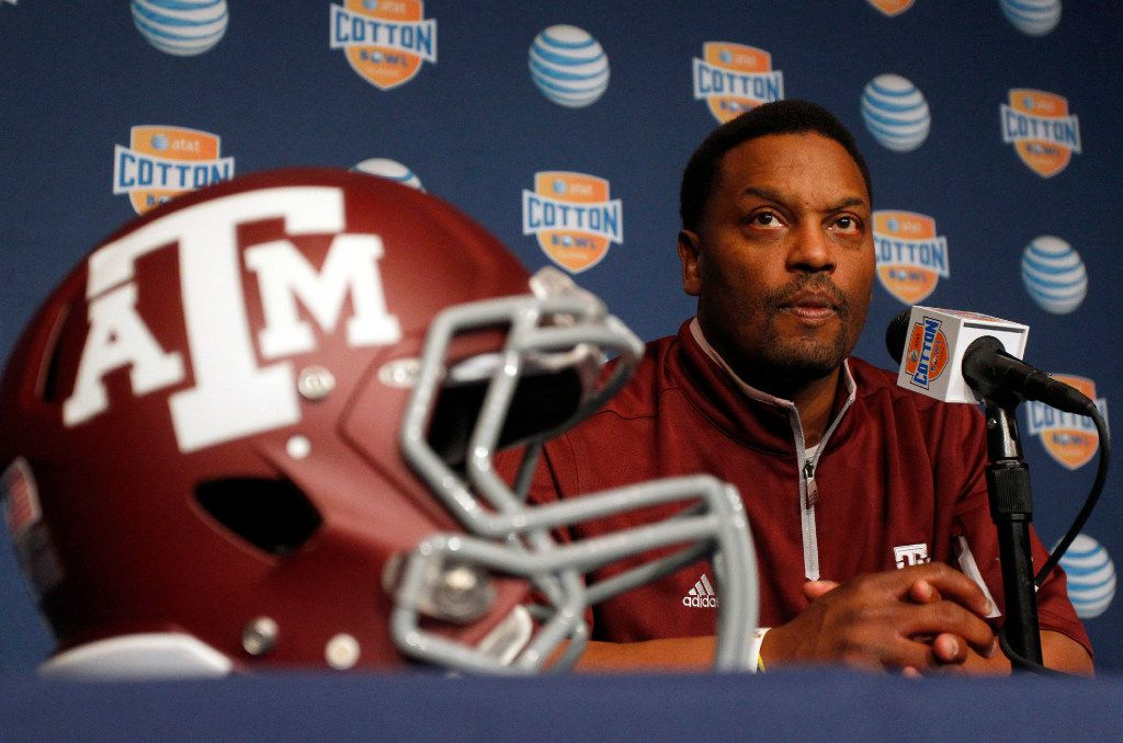 Texas A&M Aggies head coach Kevin Sumlin answers questions from the media during the Cotton Bowl Media Day at Cowboys Stadium Sunday, Dec. 30, 2012. (Richard W. Rodriguez/Fort Worth Star-Telegram/TNS)
