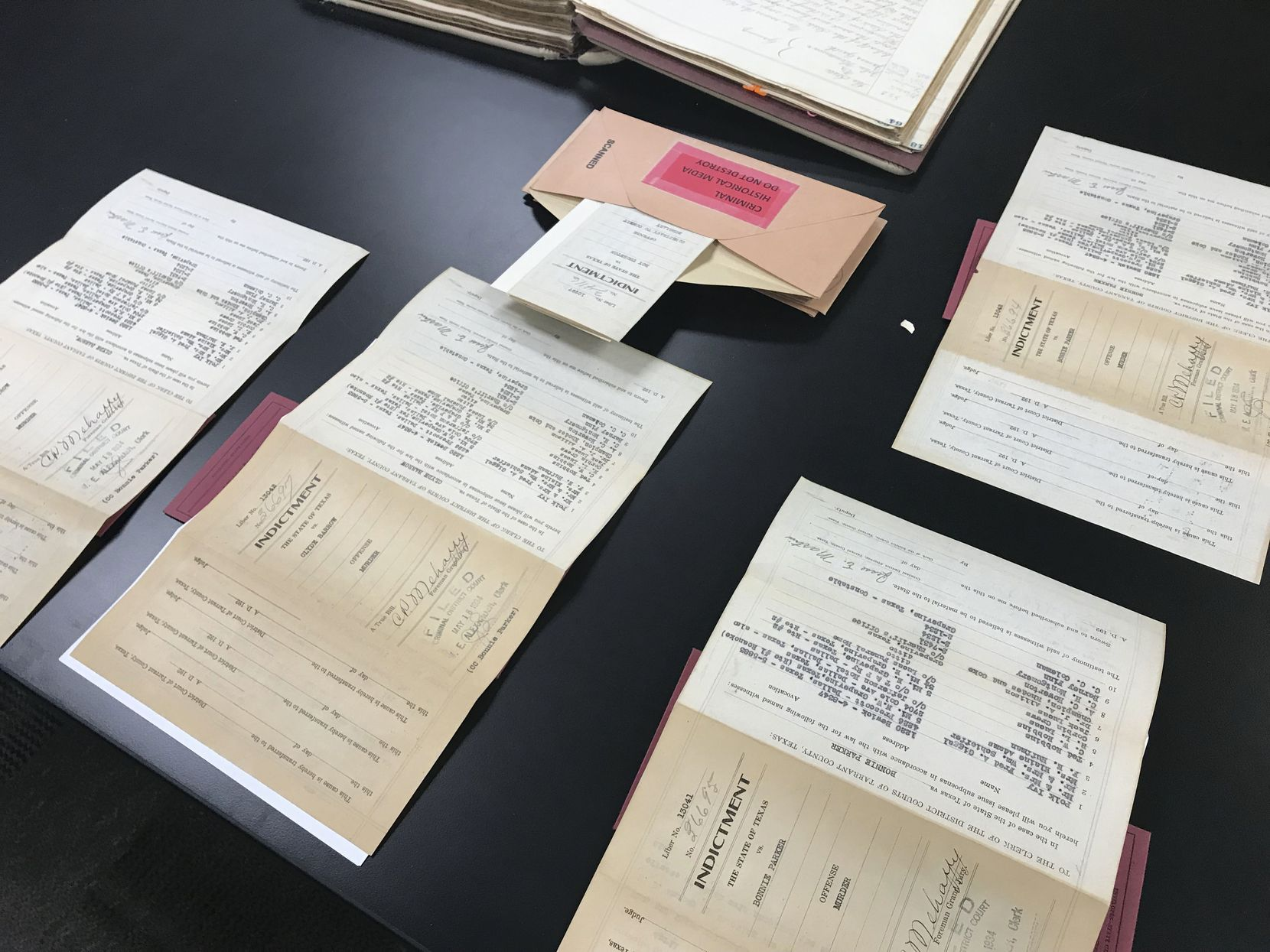 The original indictments, shown Feb. 7, 2019 in Fort Worth.