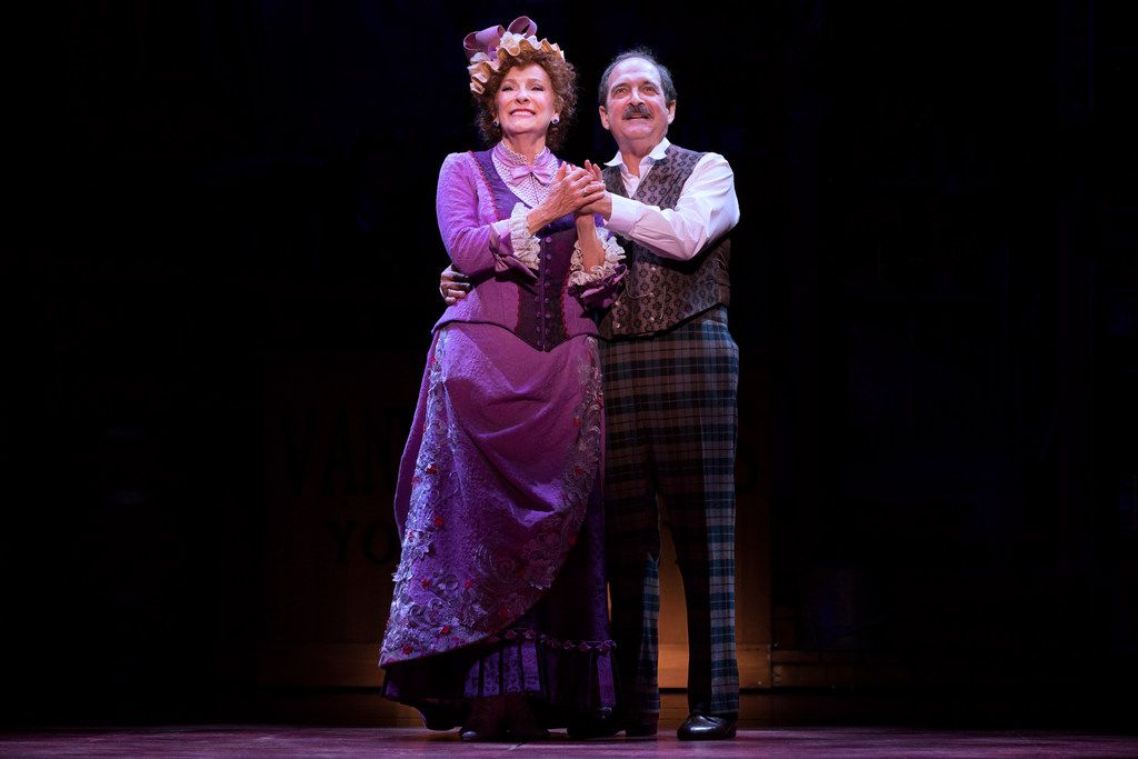 """Betty Buckley leads the national touring cast of Hello, Dolly! in the title role, a matchmaker eyeing her """"half-a-millionaire"""" client (Lewis J. Stadlen) for herself."""