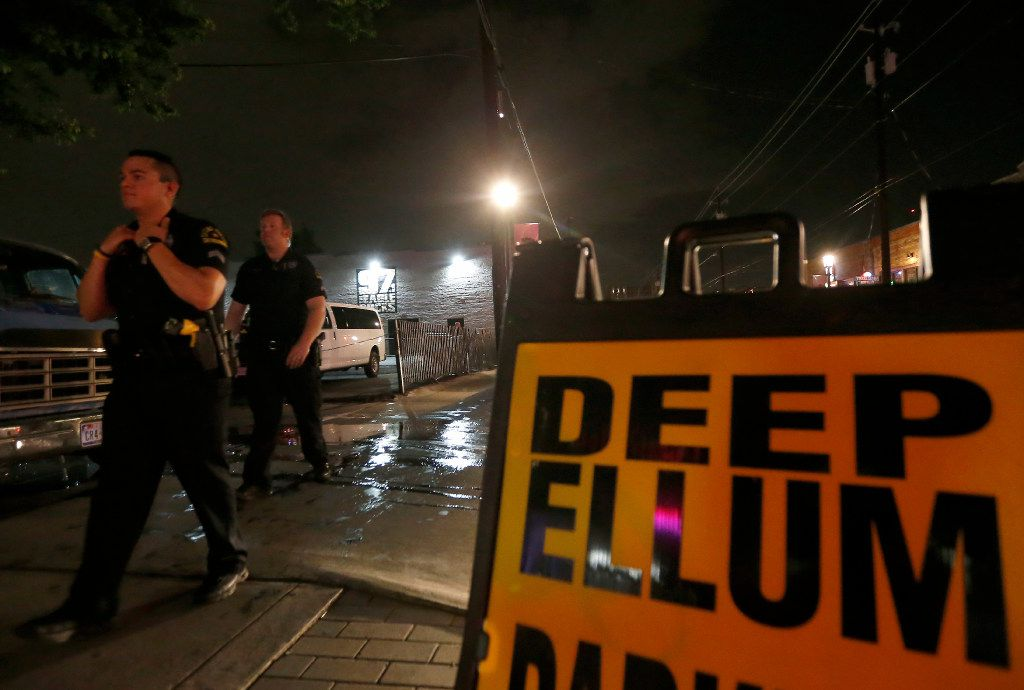 Dallas Police Officers Whitt Melton (right) and Steven Castillo patrol the Deep Ellum area early Saturday morning in Dallas, July 1, 2017. (Jae S. Lee/The Dallas Morning News)
