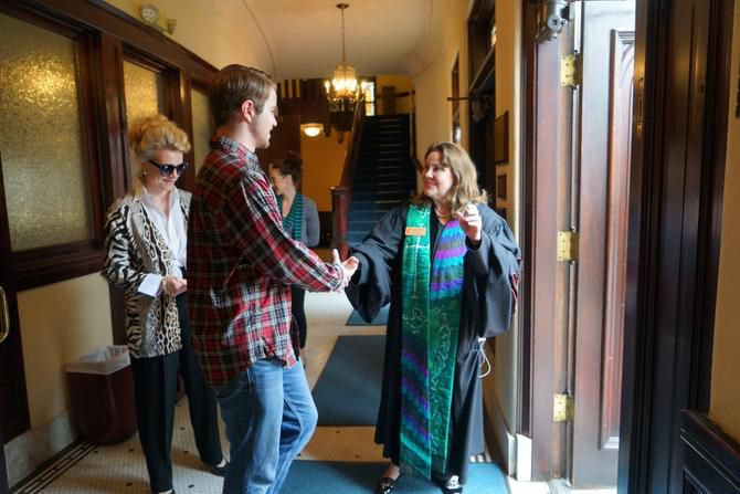 Senior Pastor Anna Hosemann-Butler chats with congregants after the service Sept. 14.