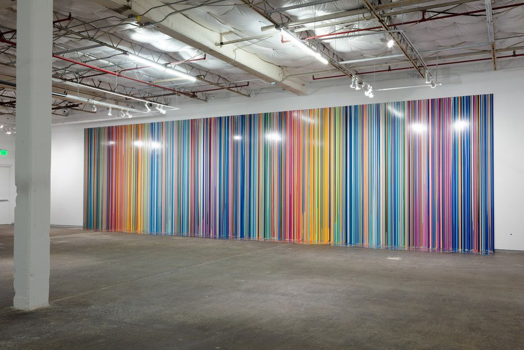 Ian Davenport's Giardini Colourfall at the Dallas Contemporary. Bruce Wood Dance performed in front of the painting.