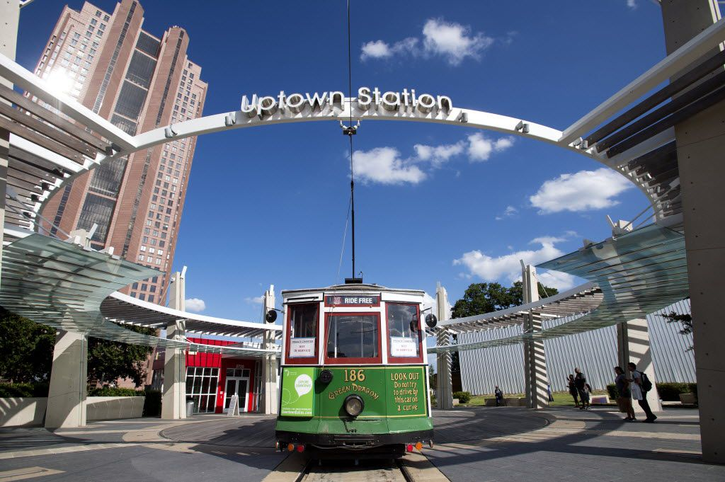 The historic Green Dragon trolley prepares to leave the Uptown Station. The McKinney Avenue Trolley is a free jaunt that little kids might find particularly appealing.