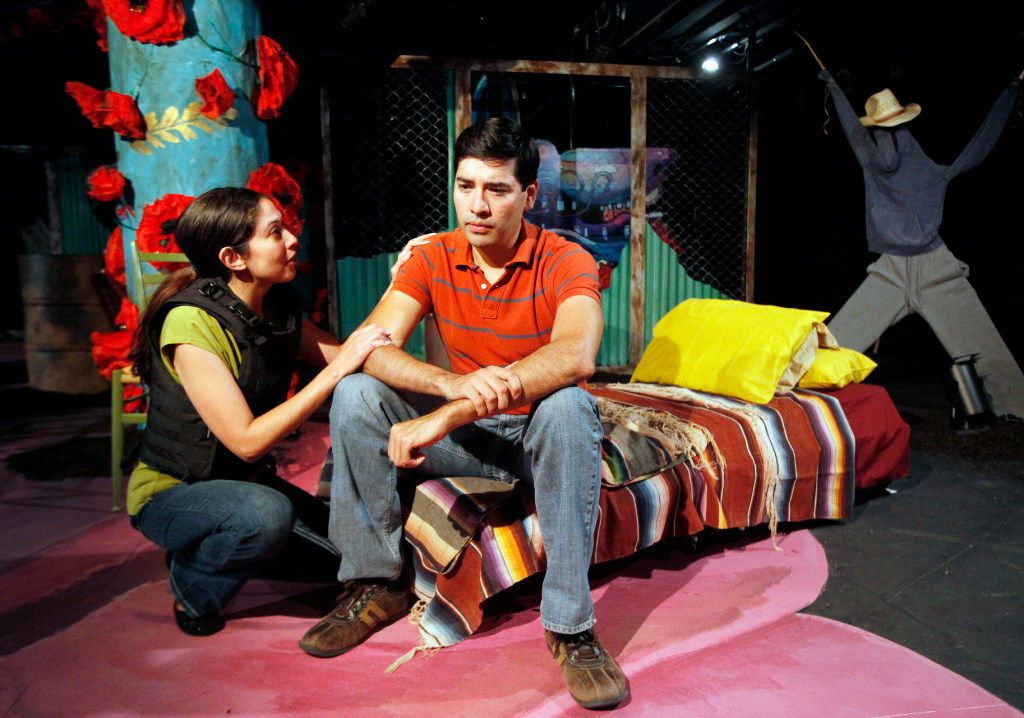 """Stephanie Cleghorn-Jasso (Mari), left, and Ivan Jasso (Husband) play wife and husband in """"so go the ghosts of Mexico,"""" a regional premiere and the first play in a trilogy by Matthew Paul Olmos at Undermain Theatre in Dallas."""