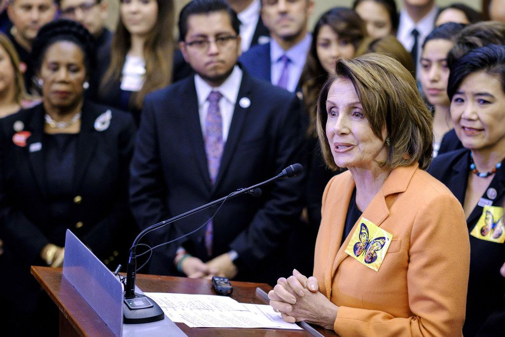 WASHINGTON, DC - JANUARY 30:  House Minority Leader Nancy Pelosi (D-CA) speaks during a press conference with Dreamers who will be attending President Trump's first State of the Union Address on January 30, 2018 in Washington, DC. Democratic leaders from both Houses of Congress welcomed the largest group of Dreamers to attend a State of the Union Address.  (Photo by Pete Marovich/Getty Images)
