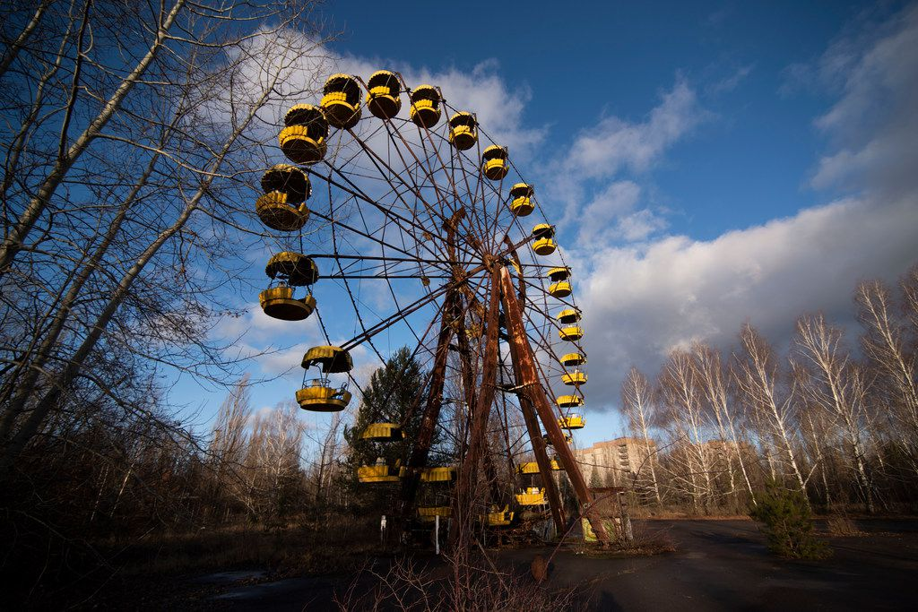 The faded yellow Ferris wheel in Pripyat's amusement park never gave a ride to a single child. The park was set to open the week after the explosion.
