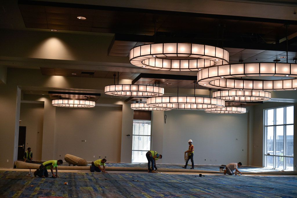A look inside one of the ballrooms at the Embassy Suites Hotel & Convention Center Friday, October 13, 2017, in Denton, Texas.