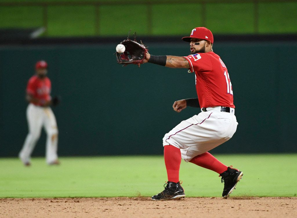 Texas Rangers second baseman Rougned Odor fields a grounder by Chicago White Sox's Charlie Tilson, who was out at first during the sixth inning of a baseball game Friday, June 29, 2018, in Arlington, Texas. (AP Photo/Jeffrey McWhorter)