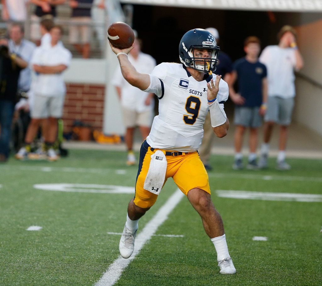 Highland Park quarterback John Stephen Jones (#9) throws a pass against Mansfield Timberview during the first half of their high school football game in Mansfield, Texas on September 14, 2017. (Michael Ainsworth)