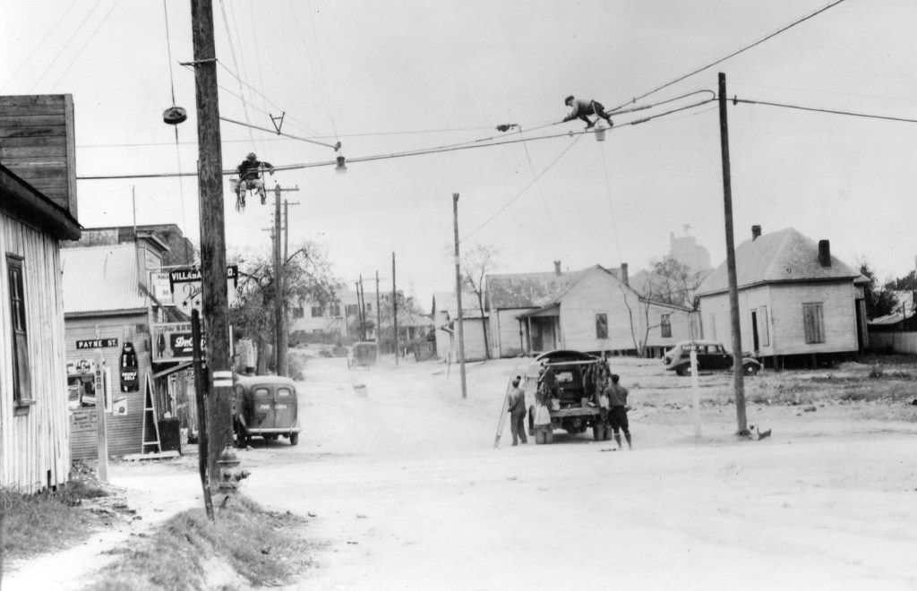 This photo from 1940 shows Turney and Payne streets in the Little Mexico neighborhood in Dallas. In the left corner is the original location of the Villasana Food Store on Turney Street, which later became part of Harry Hines Boulevard.