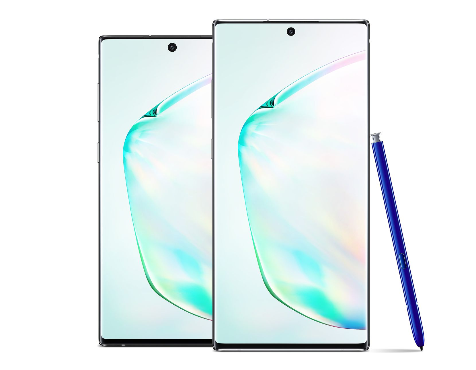 The Samsung Galaxy Note 10 (left), and Note 10+.