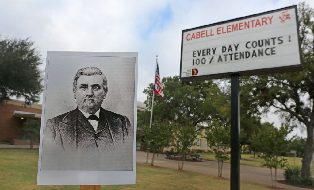 An archive copy photo of William L. Cabell is displayed in a photo of William L. Cabell Elementary School at 12701 Templeton Trail in Dallas.