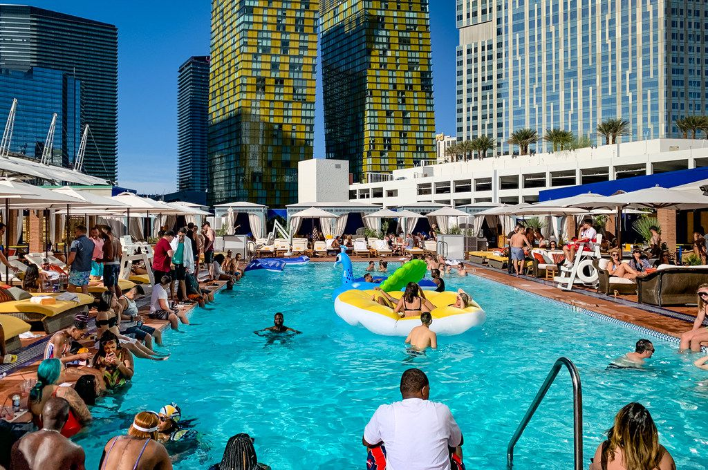 The rooftop pool at the NoMad Las Vegas hotel draws a celebrity crowd (and a crowd hoping to spot celebrities).