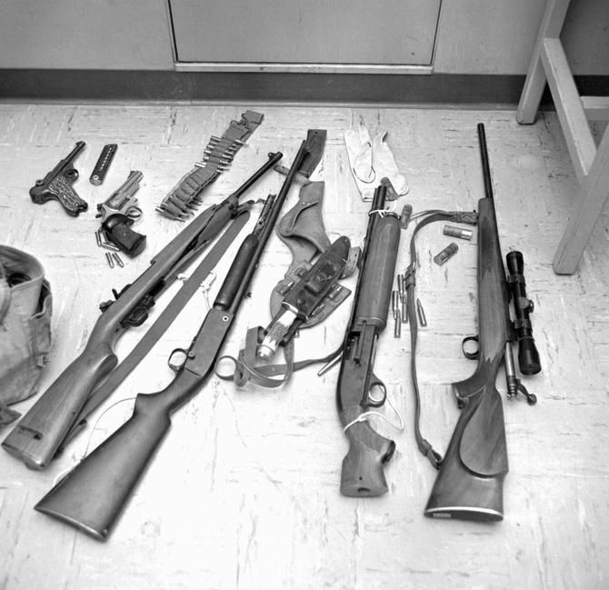 After Whitman was killed, police displayed some of the weapons he had. He went to the tower with seven guns, three knives and various pieces of survival equipment.