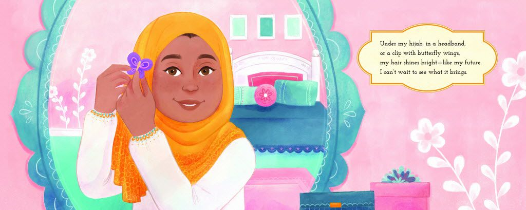 An image from Under My Hijab, by Hena Khan, illustrated by Aaliya Jaleel.