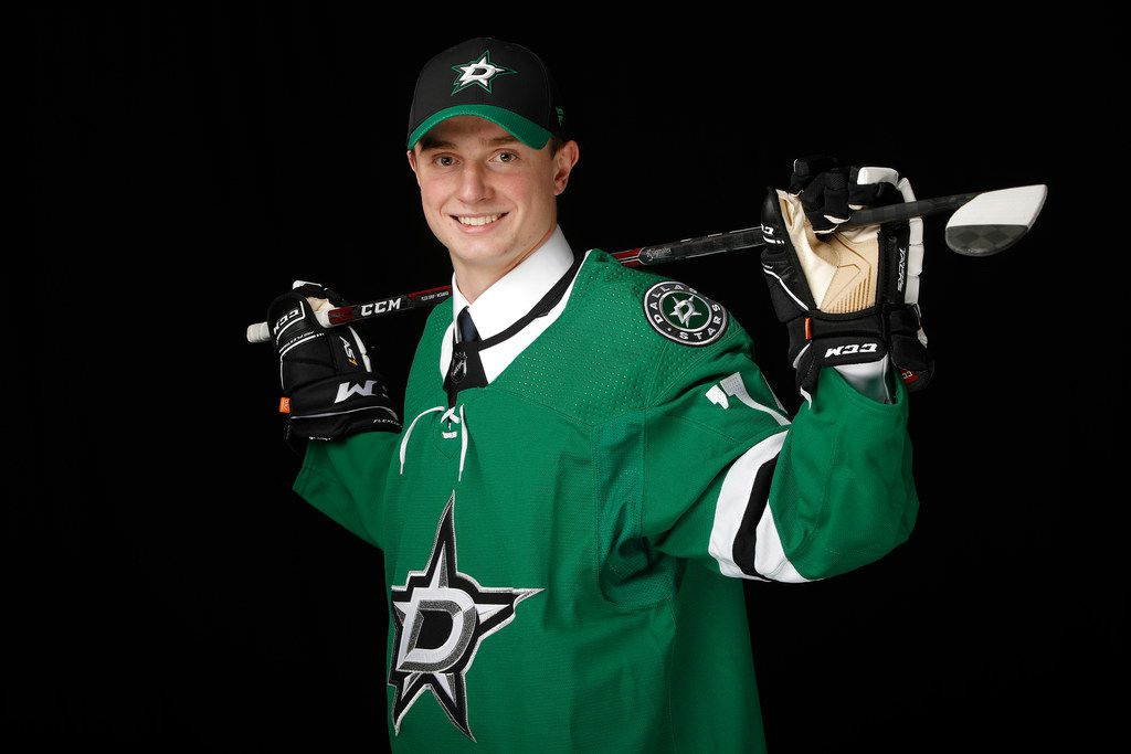 VANCOUVER, BRITISH COLUMBIA - JUNE 21: Thomas Harley poses for a portrait after being selected eighteenth overall by the Dallas Stars during the first round of the 2019 NHL Draft at Rogers Arena on June 21, 2019 in Vancouver, Canada. (Photo by Kevin Light/Getty Images)