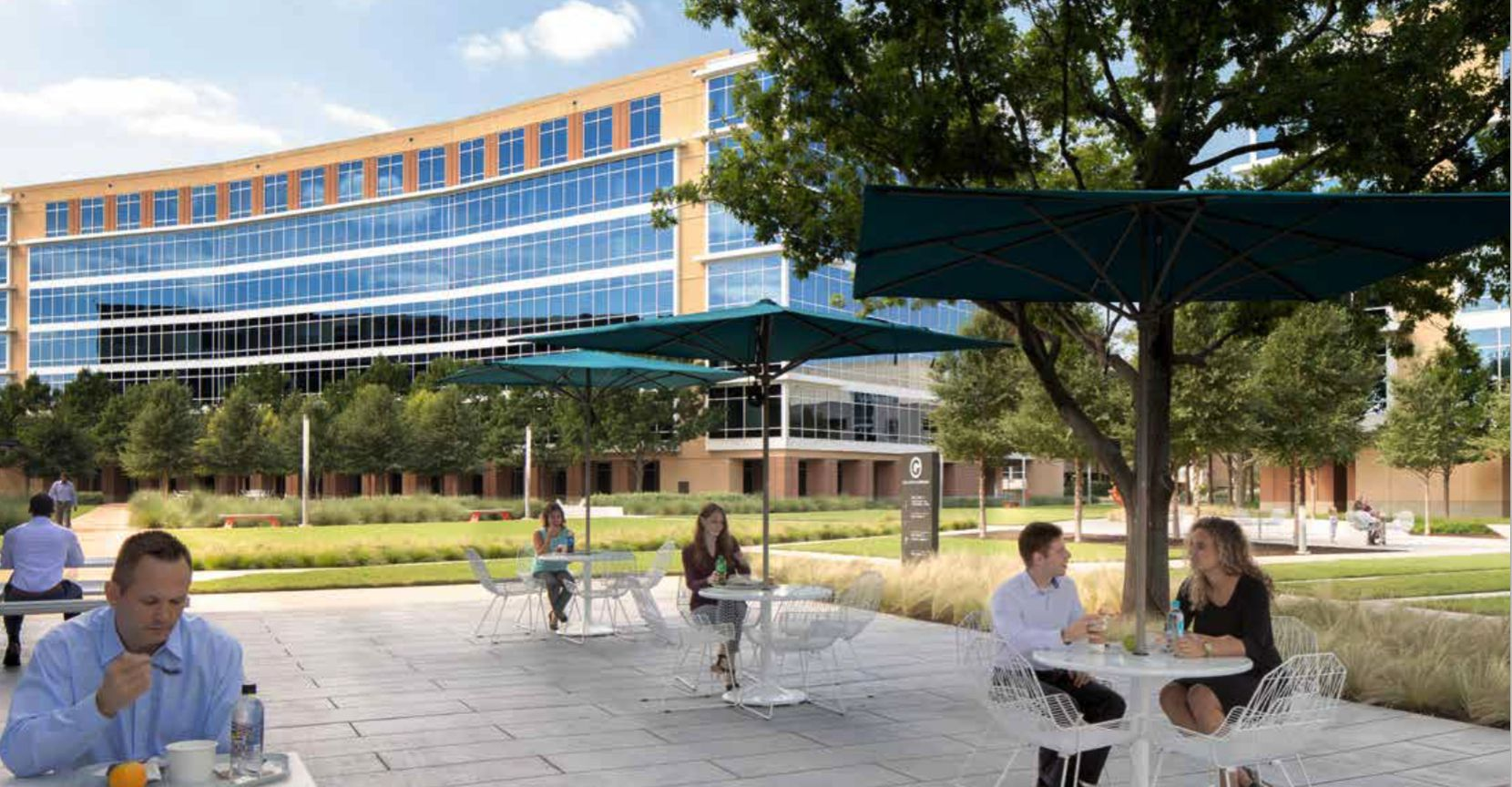Spear Street added extensive tenant amenities including outdoor patios to the Galatyn Commons campus.