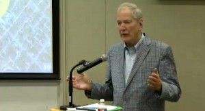 Walt Humann at the park board meeting on Thursday