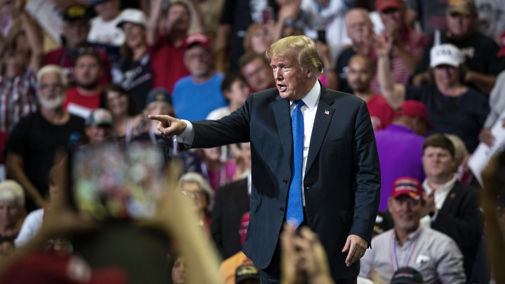 President Donald Trump was cheered at a rally Tuesday in Southaven, Miss.
