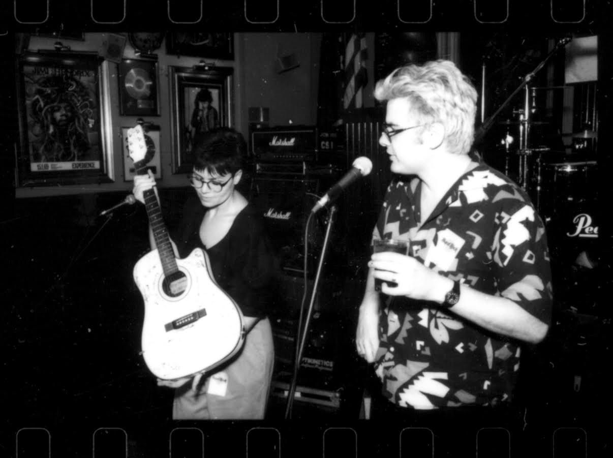 That time George Gimarc (right) auctioned off a guitar at the old Hard Rock Cafe that Tripping Daisy's Tim DeLaughter wound up buying.
