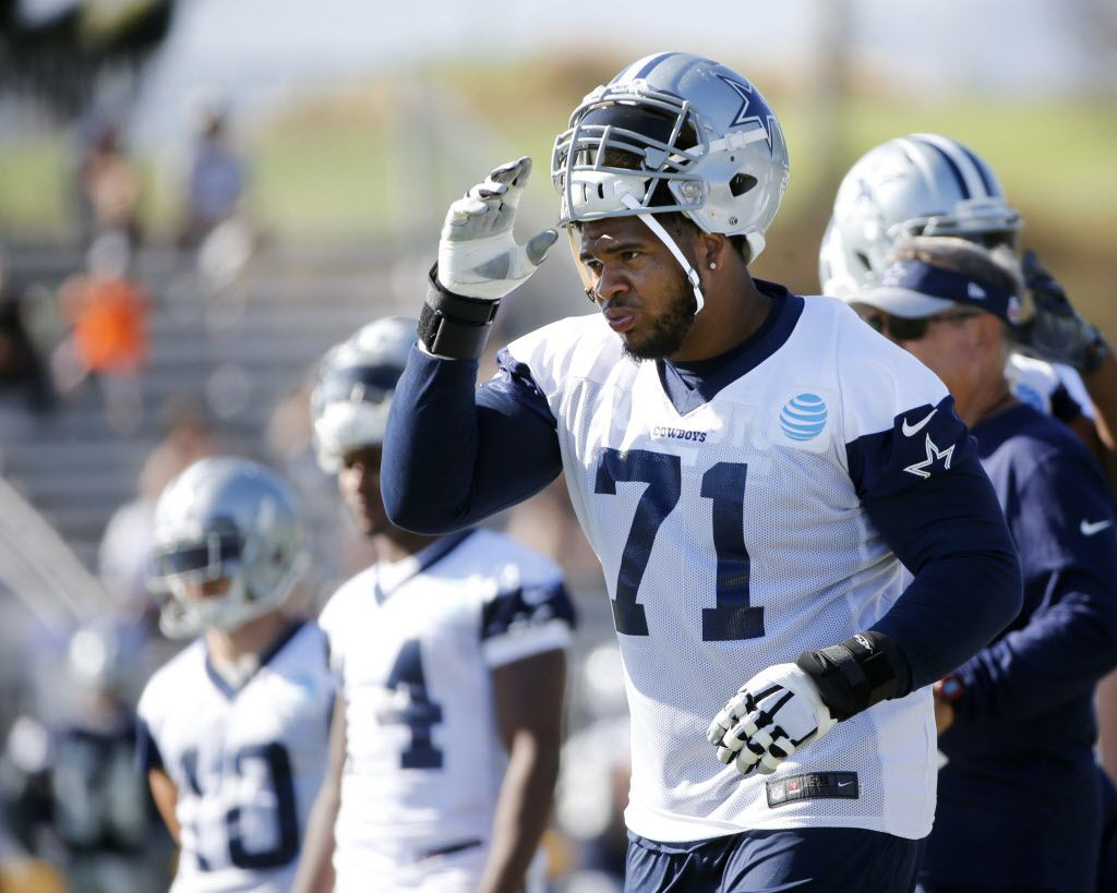 Dallas Cowboys offensive guard La'el Collins (71) prepares to go in for a play during the afternoon practice at training camp in Oxnard, California on Tuesday, July 25, 2017. (Vernon Bryant/The Dallas Morning News)