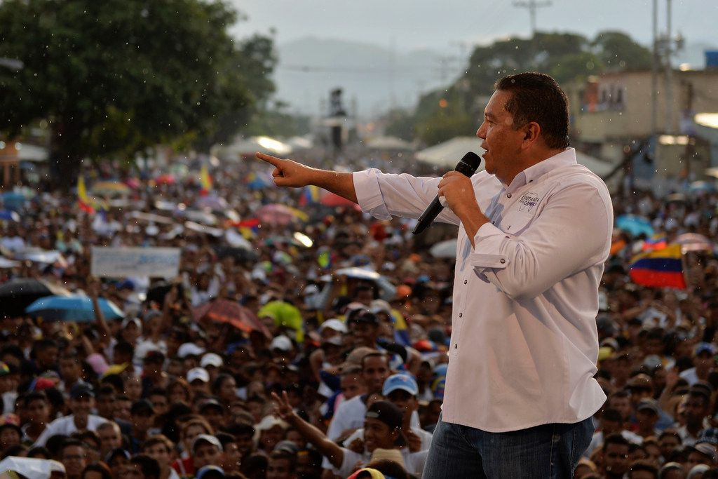 Venezuelan opposition presidential candidate and evangelical pastor Javier Bertucci speaks to supporters, during his campaign closing rally in Valencia, Venezuela on May 16, 2018.