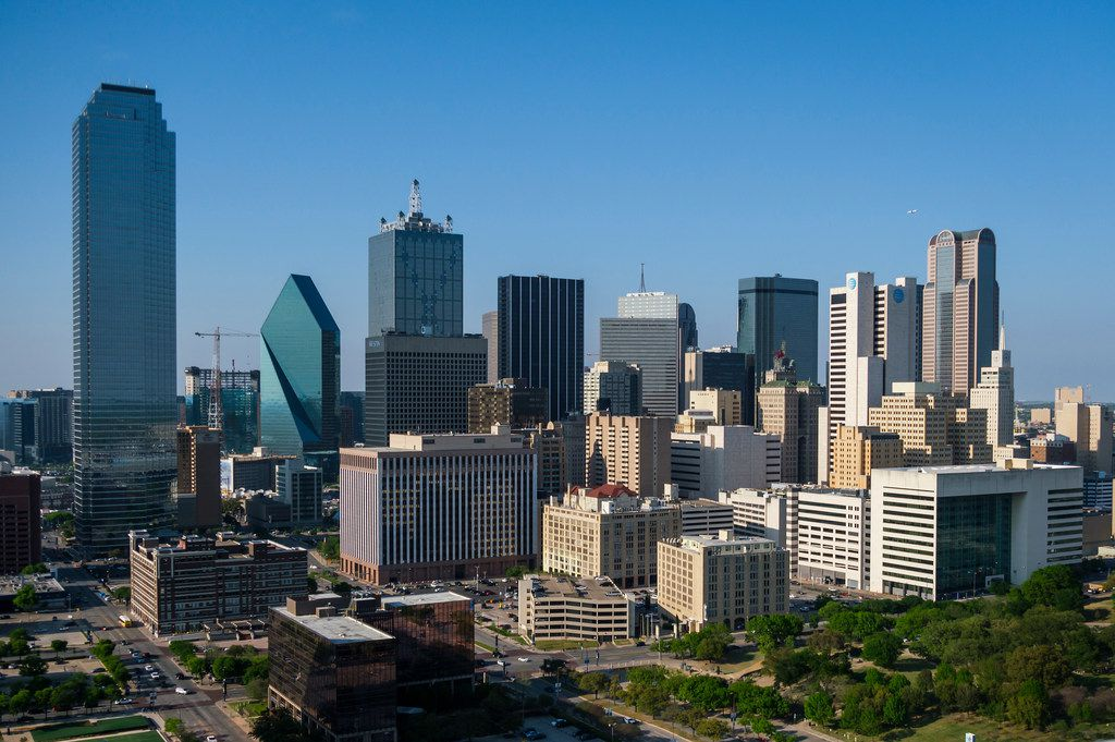 Aerial view of the downtown skyline on Thursday, April 4, 2019, in Dallas.