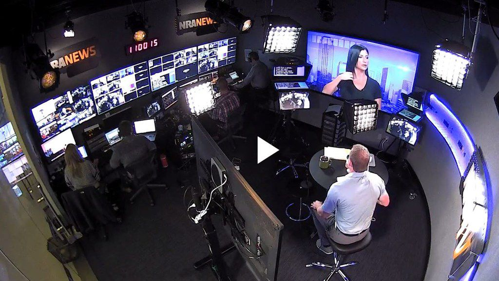 Backstage of NRA TV is shown during the show of host Grant Stinchfield, who is based in Dallas.