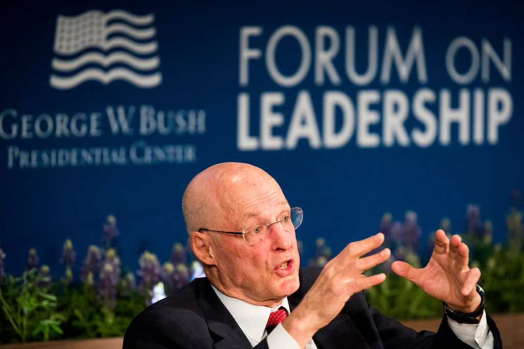 Henry M. Paulson, Jr., chairman of the Paulson Institute, participates in a panel discussion on Nationalism and the Future of Global Markets.