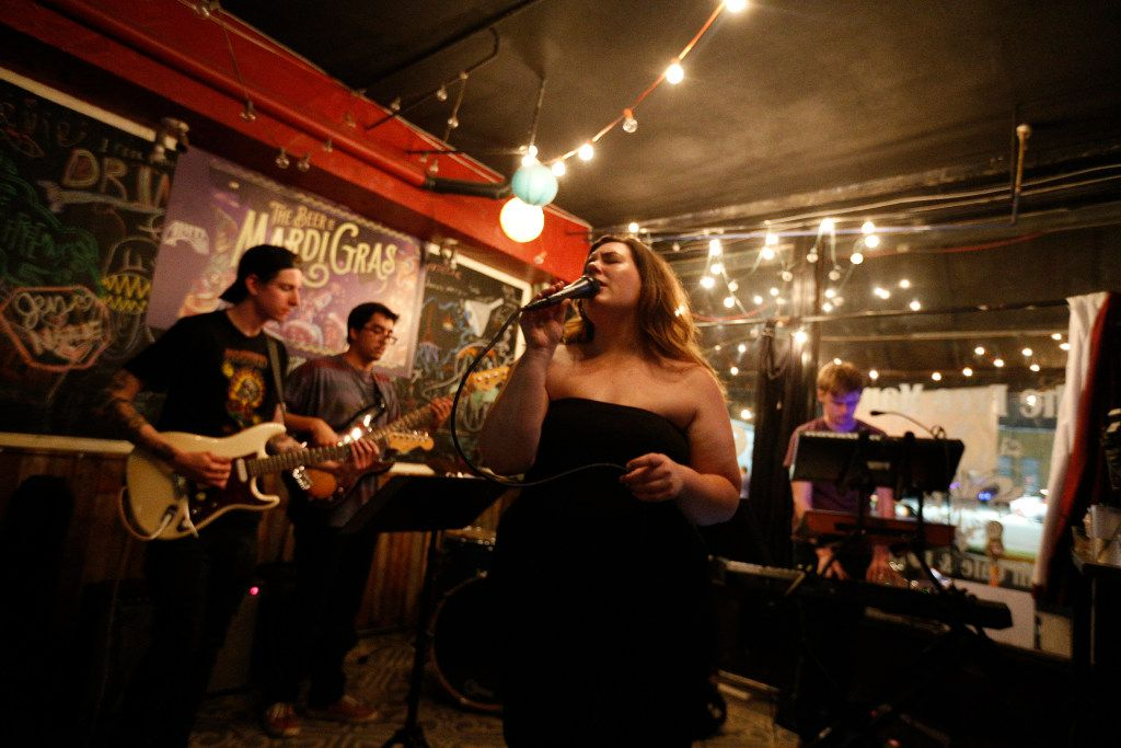 Alex Blair, front woman of the band Blayr, sings at The Free Man in Dallas.