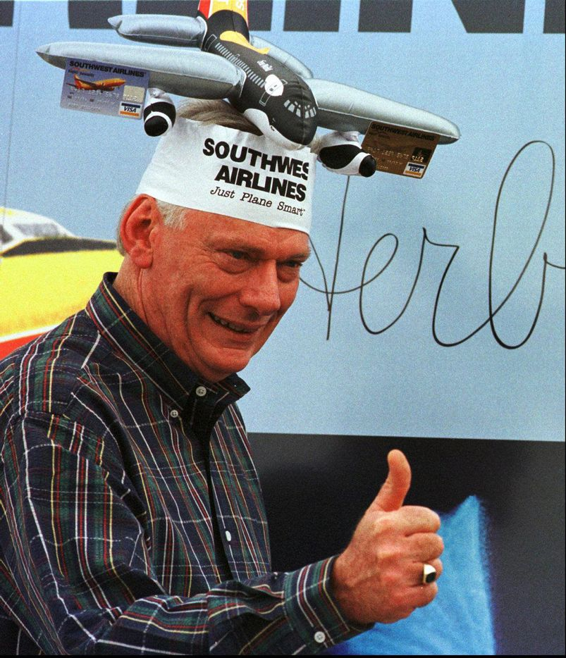 Herb Kelleher wore a funny hat in 1996 as airline introduced a Rapid Rewards Visa card.