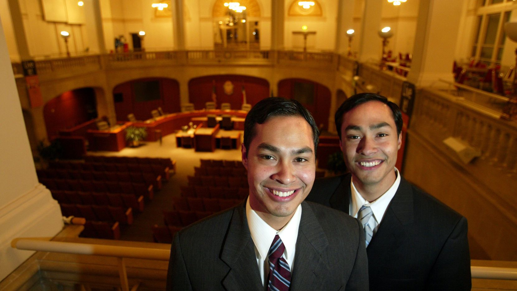 San Antonio city council member Julian Castro (L)  and twin brother Texas state representative Joaquin Castro.  (Richard Michael Pruit/The Dallas Morning News)
